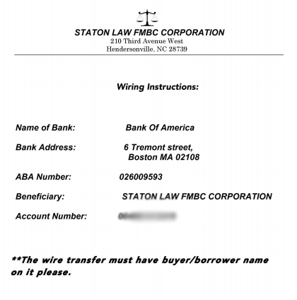 The fraudulent wire instructions apparently sent by the hackers via the settlement law firm.