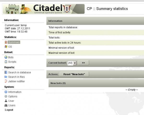 A screenshot of the Citadel botnet panel.